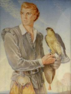 Rosemary Sutcliff miniature paining The Falconer 1952