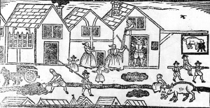 Tudor life woodcut of street scene