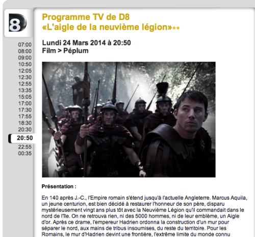 L'Aigle de la Neuvième Légion on TV en France aujourd'hui!